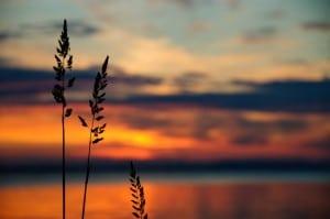 Solnedgang, stjerner og stearinlys
