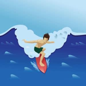 Surfing med fuld fart