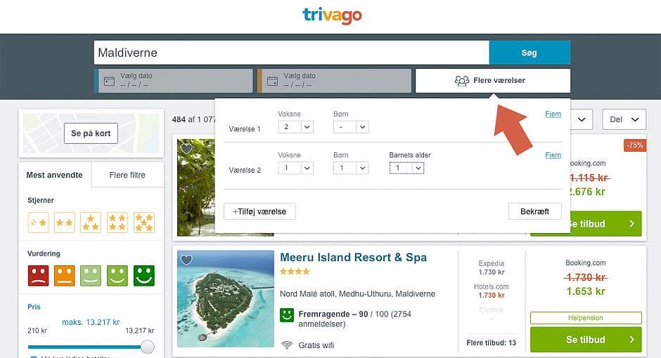 Pris for flere hotelværelser hos Trivago