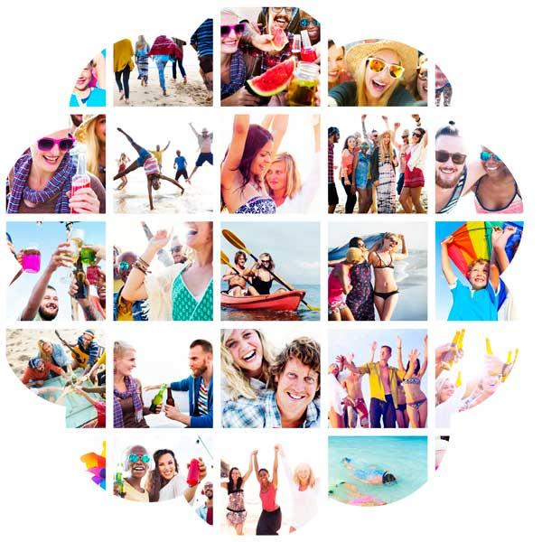 Collage med glade mennesker der får en gave
