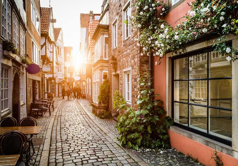 Romantisk gade i byen Bremen